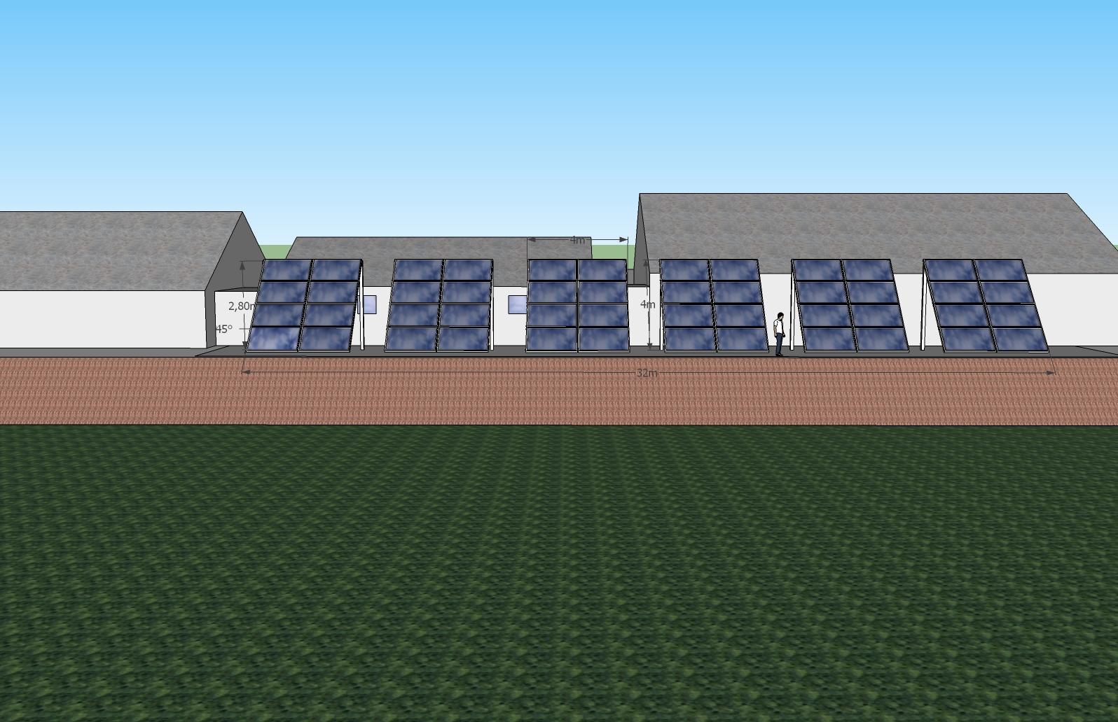 Exemple d'installation réalisée en panneaux solaires thermiques